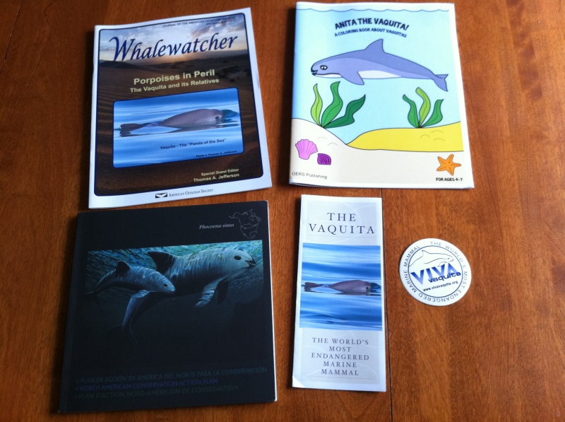 Vaquita-specific books, brochure, and sticker.